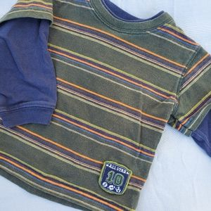 Green, blue, and orange striped long sleeve
